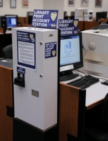 South Campus (main) Library Printing Account Station and Cash Box(E2, Station #1)